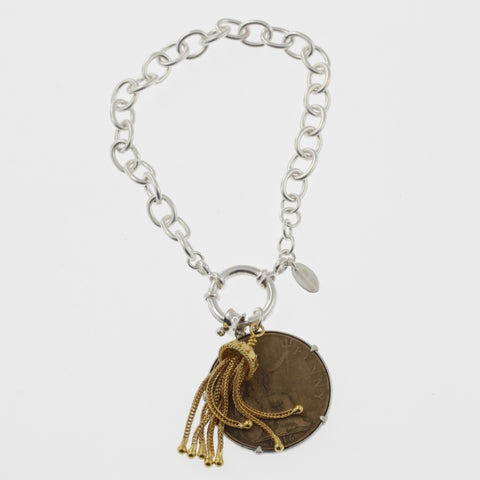 Coin bracelet on belcher chain with penny and tassle