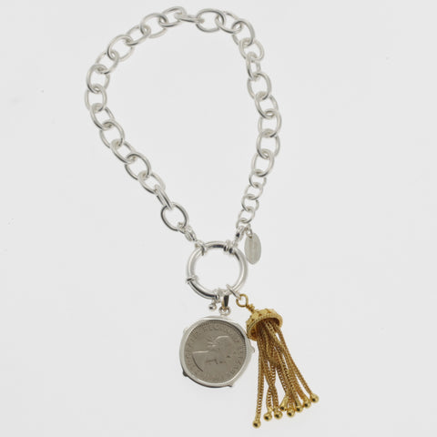 Coin bracelet on belcher chain with sixpence and tassle