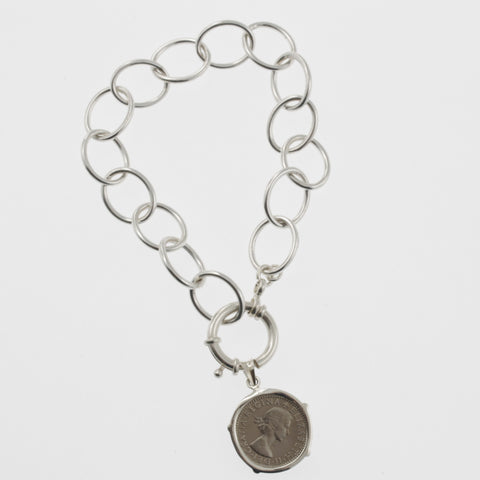 Coin bracelet on oval link chain with sixpence