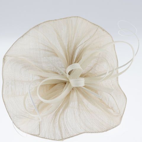 Cream paris cloth fascinator on headband