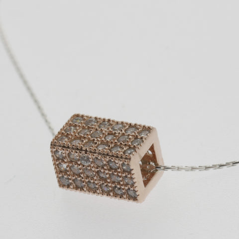 Cubic zirconia box sterling rose gold plated pendant necklace