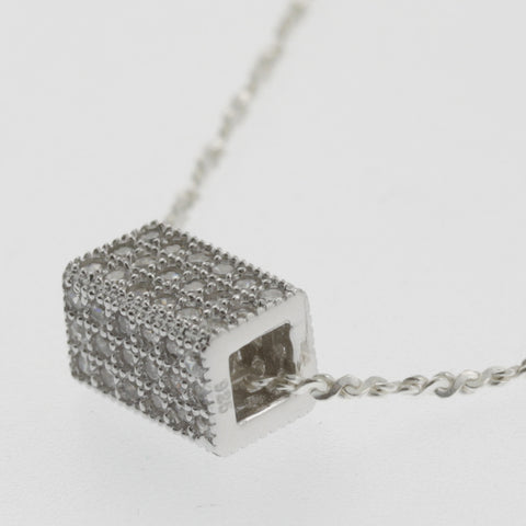 Cubic zirconia box sterling silver pendant necklace