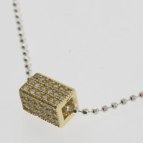 Cubic zirconia box yellow gold plated pendant necklace
