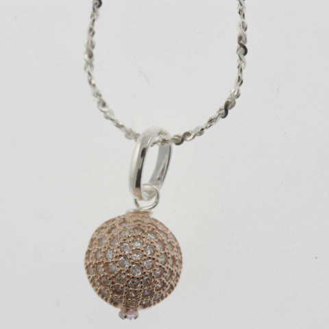 Cubic zirconia reversible sphere rose gold plated pendant necklace