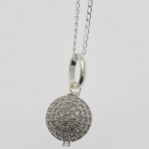Cubic zirconia reversible sphere sterling silver pendant necklace