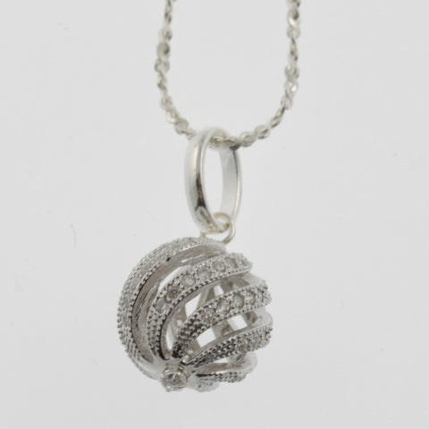 Cubic zirconia swirling sphere sterling silver necklace
