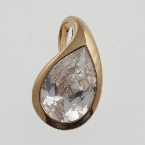 Cubic zirconia teardrop pendant in rose gold plated sterling silver