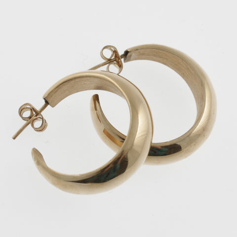 Curved hoop earrings in rose gold plated sterling silver