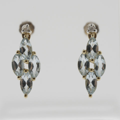 Diamond and aquamarine drop earrings in 9 ct yellow gold