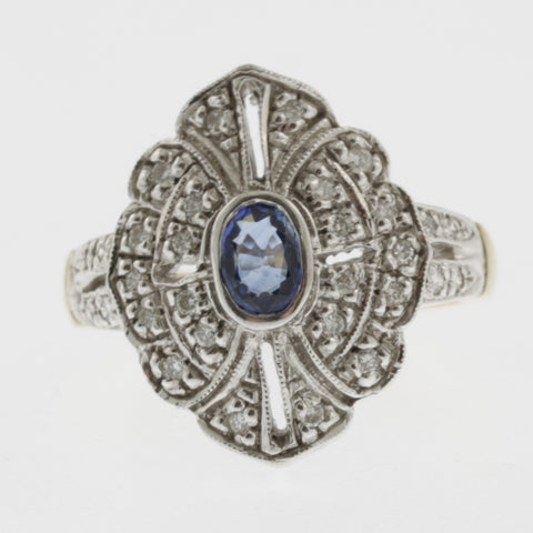 Diamond and sapphire ring vintage style