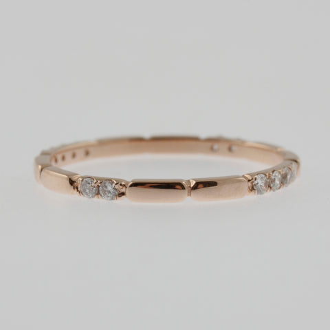 Diamond rose gold ring band 360 pattern