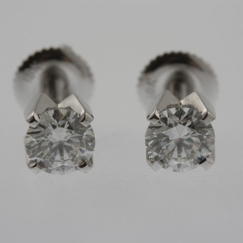 Diamond studs 50 points each in white gold