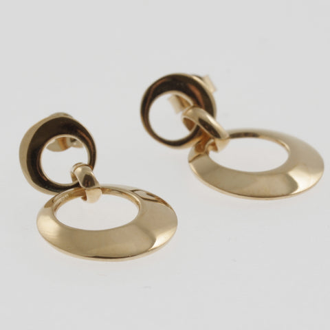 Double circle drop earrings in rose gold plated sterling silver