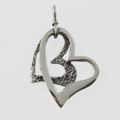 Double heart sterling silver pendant