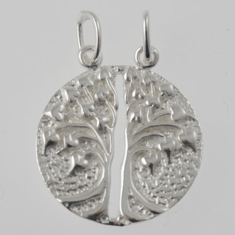 Double tree of life round sterling silver pendant