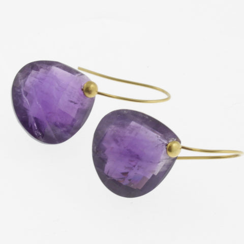 Faceted dark amethyst yellow gold drop earrings