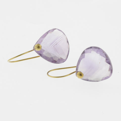 Faceted light amethyst yellow gold drop earrings