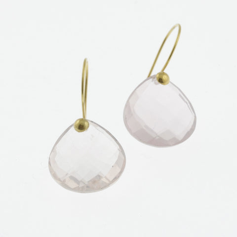 Faceted rose quartz yellow gold drop earrings