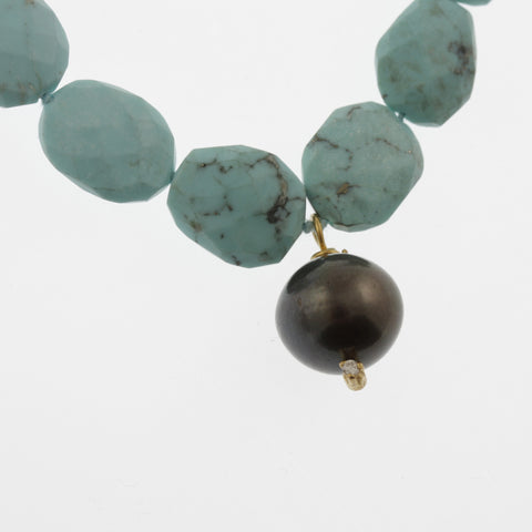 Faceted turquoise and tahitian pearl necklace