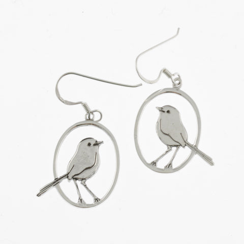 Fairy wren silver earrings