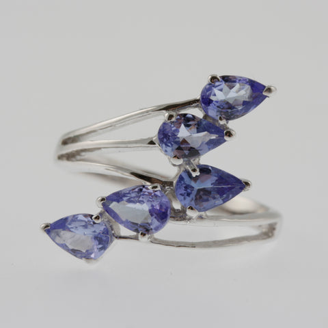 Five tanzanite pears wave ring in sterling silver