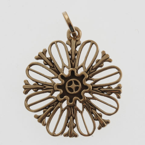 Flower cutout pendant in rose gold plated sterling silver