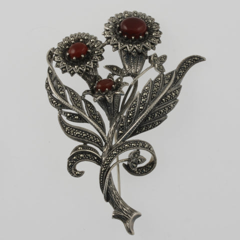 Jewelled flower posy brooch