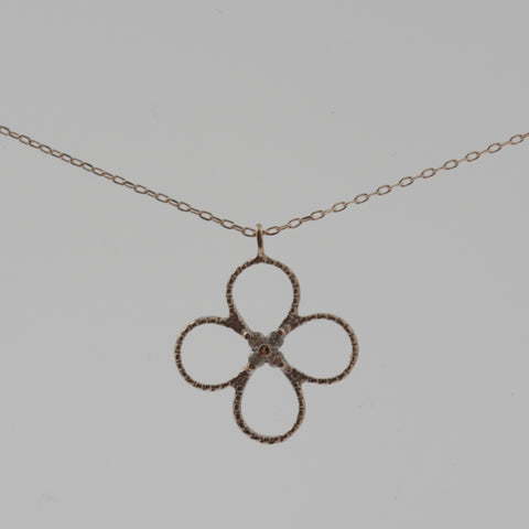 Four leaf clover/ flower diamond and rose gold necklace