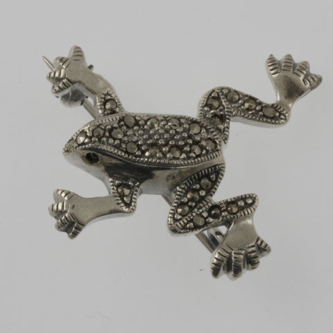 Frog marcasite and sterling silver brooch