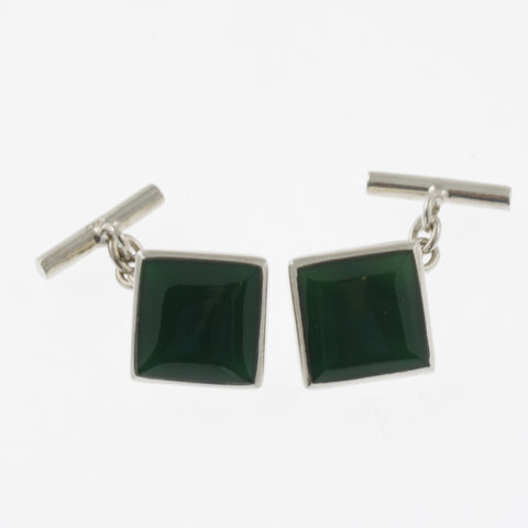 Green agate and sterling silver square cufflinks