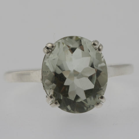 Green amethyst oval solitaire ring in white gold