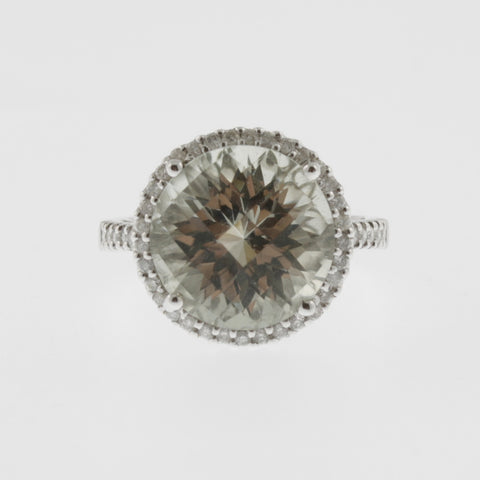 Green amethyst solitaire ring with diamond halo and shoulders 18ct white gold