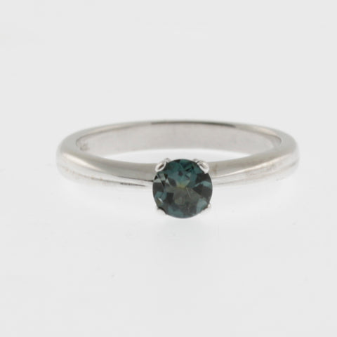 Green tourmaline solitaire white gold ring