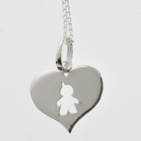 Heart cutout sterling silver pendant- child
