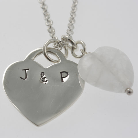 Personalised jewellery: heart with initials and rose quartz heart