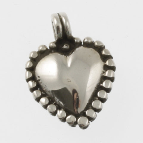 Heart sterling silver pendant with oxidised beading edge
