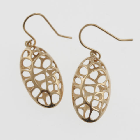 Honeycomb oval earrings in rose gold plated sterling silver