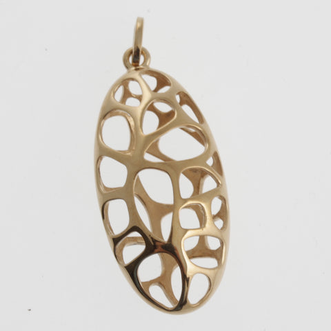 Honeycomb oval pendant in rose gold plated sterling silver