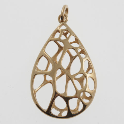 Honeycomb teardrop pendant in rose gold plated sterling silver