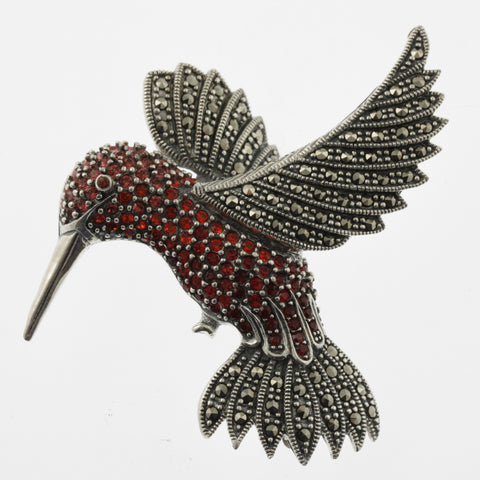 Jewelled hummingbird brooch