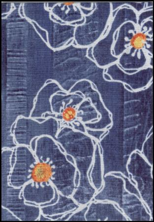 Denim poppy handmade fabric greeting card