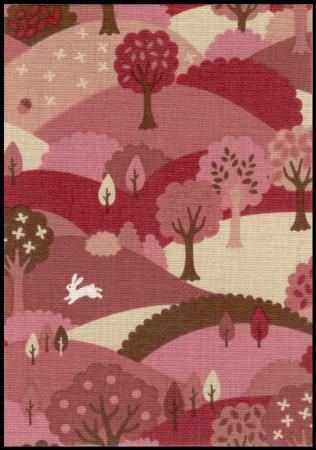 Berry forest handmade fabric greeting card