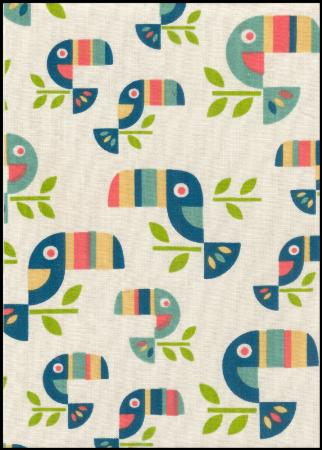 Toucans handmade fabric greeting card