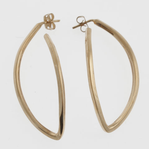 Leaf outline hoops in rose gold plated sterling silver