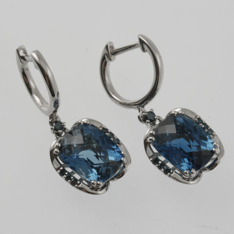 London blue topaz and blue diamond white gold earring