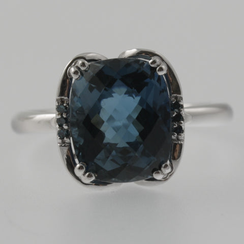 London blue topaz and blue diamond white gold ring