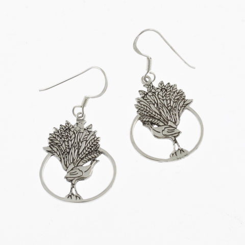 Lyrebird silver earrings