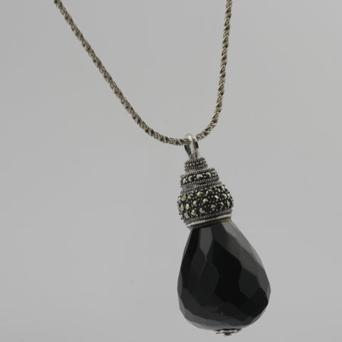 Marcasite and faceted onyx teardrop pendant