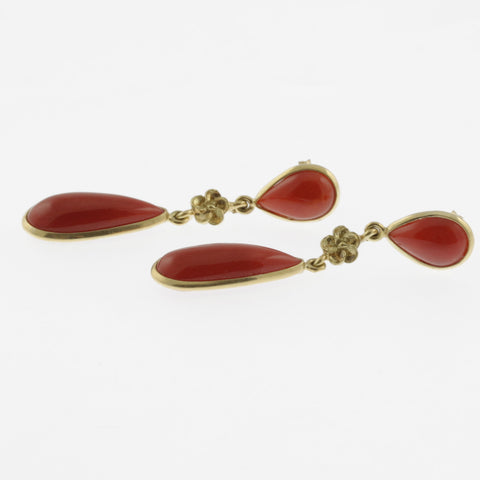 Meditteranean coral cabachon dual tear drop earrings with flower detail in yellow gold