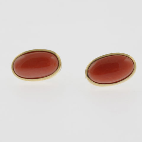 Meditteranean coral cabachon studs in yellow gold